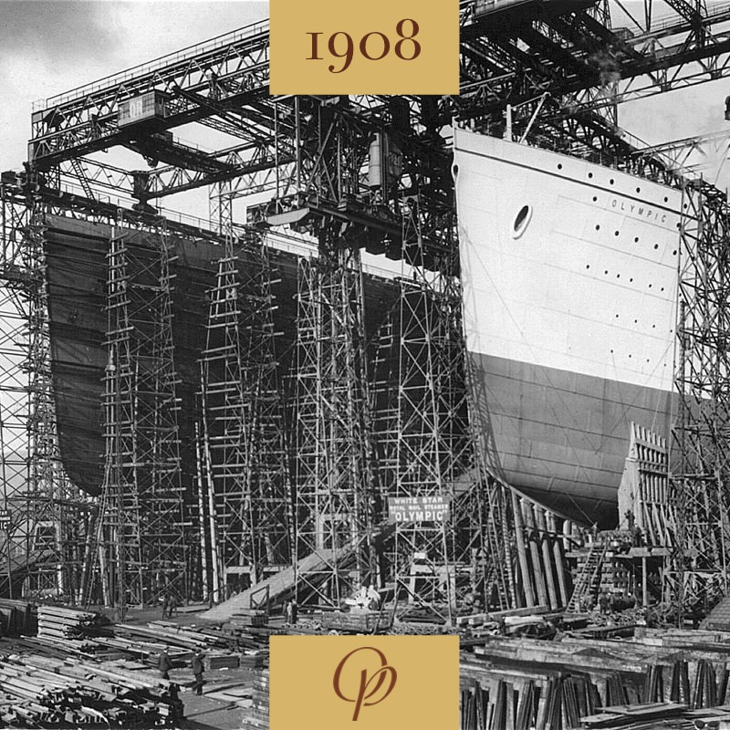 Construction of ocean liner Olympic